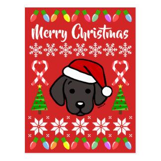 Postal Modelo negro del navidad del perrito de Labrador