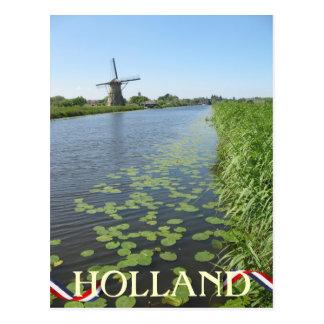 Postal Molino de viento de Holanda a lo largo de la
