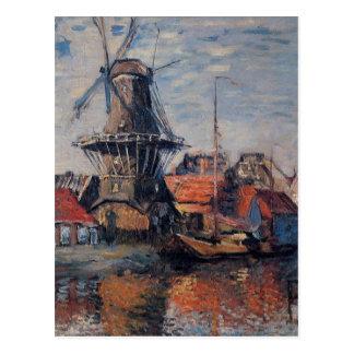 Postal Molino de viento en el canal de Onbekende,