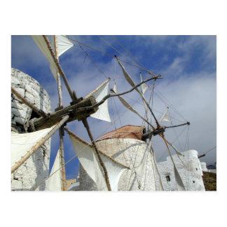 Postal Molinoes de viento viejos Olympos Karpathos,
