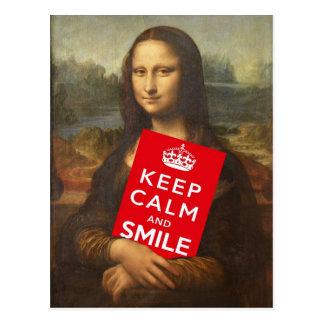 Postal Mona Lisa dice guarda calma y sonríe