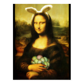 Postal Mona Lisa, el conejito de pascua