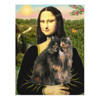 Postal Mona Lisa - gato de calicó persa