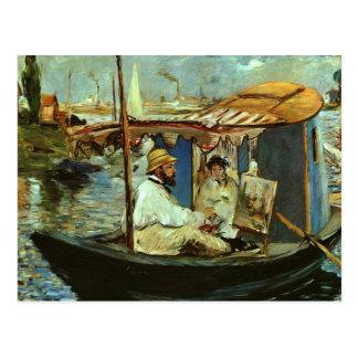 Postal Monet en su barco del estudio