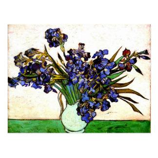 Postal Monet - florero con los iris