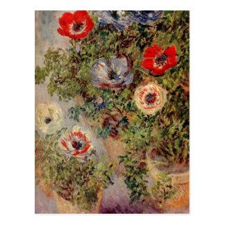 Postal Monet, mit Anemonen um de Claude Stilleben C. 1885