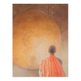 Postal Monje budista y gongo jovenes Bhután 2010
