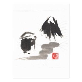 Postal Monje del zen y montaña de la aclaración