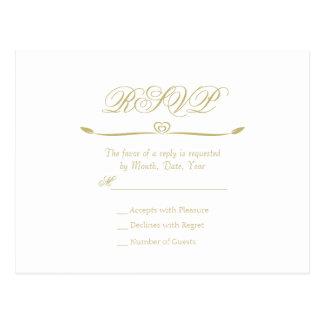 Postal Monograma elegante RSVP del blanco y del oro