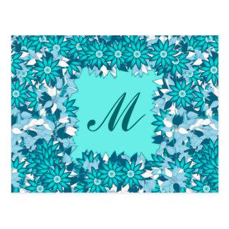 Postal Monograma enmarcado con las flores - azul y blanco