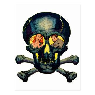 """Postal Monstruos retros """"cráneo"""" del kitsch del vintage"""