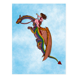 Postal Montar el dragón del arco iris