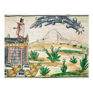 Postal Montezuma II que mira un cometa, 1579