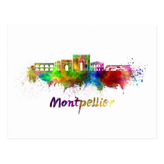 Postal Montpellier skyline in watercolor