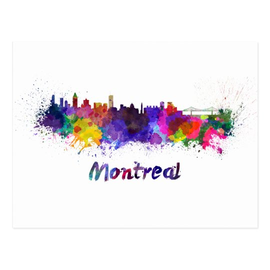 Postal Montreal skyline in watercolor