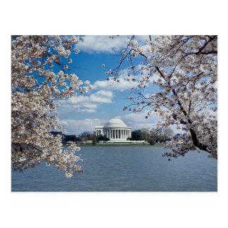 Postal Monumento de Thomas Jefferson con las flores de