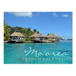 Postal Moorea en Polinesia francesa con las casas de