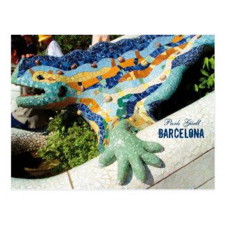 Postal Mosaicos de Guell del parque de Barcelona