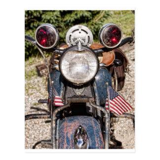 Postal motocicleta vieja de la policía de Harley-Davidson