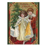Postal Muchacho 1910 y chica del pliegue del navidad del