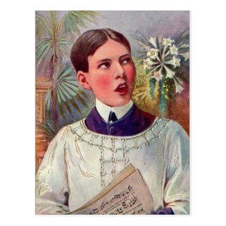 Postal Muchacho de altar católico del kitsch retro del