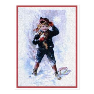 Postal Muchacho del vintage que juega bolas de nieve