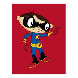 Postal Muchacho lindo del super héroe