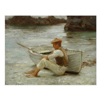 Postal Muchacho y barco de Henry Scott Tuke