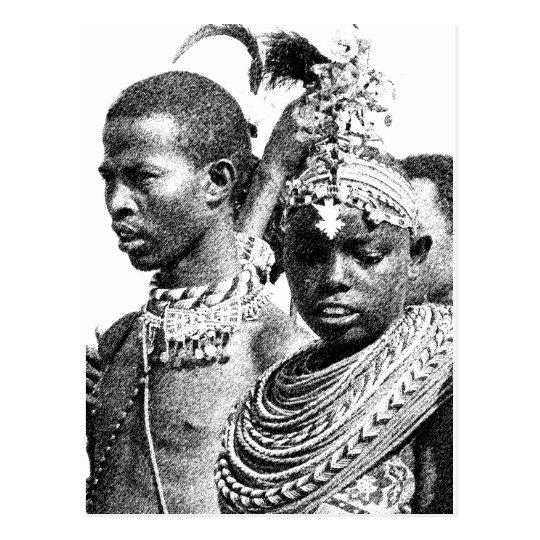 Postal Muchacho y chica de Samburu