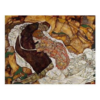 Postal Muerte de Egon Schiele- y la doncella