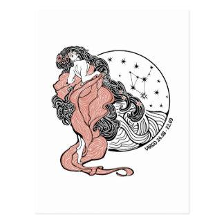 Postal Muestra del zodiaco del virgo. Círculo del