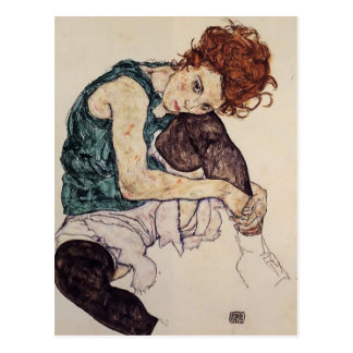 Postal Mujer asentada Schiele- de Egon con la rodilla