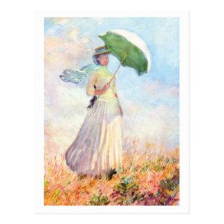 Postal Mujer con el parasol que hace frente a la derecha
