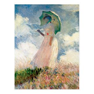 """Postal Mujer con la """"promenade"""" Monet del parasol"""