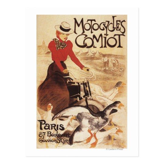 Postal Mujer de Comiot Motocycles y poster del promo de
