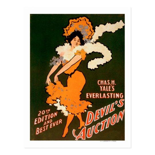 Postal Mujer de la subasta del diablo en teatro del traje