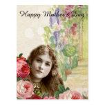 Postal Mujer de los rosas de la col del Victorian floral