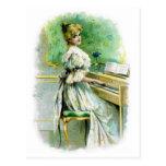Postal Mujer del Victorian que juega el piano