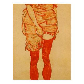 Postal Mujer derecha de Egon Schiele- en rojo