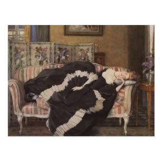 Postal Mujer durmiente de Konstantin Somov- A