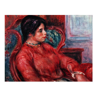 Postal Mujer en butaca de Pierre-Auguste Renoir
