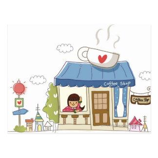 Postal Mujer en una cafetería