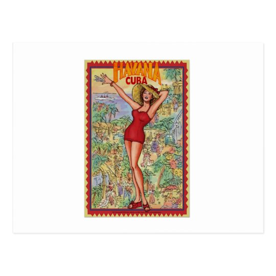 Postal Mujer Havana: Vintage Cubano La Habana