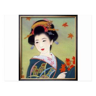 Postal Mujer japonesa en kimono azul