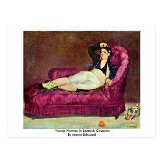 Postal Mujer joven en traje español de Manet Eduardo