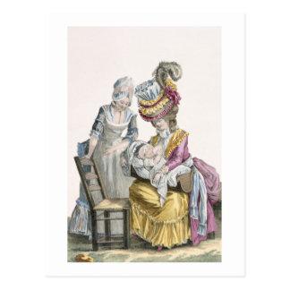 """Postal Mujer joven en un vestido """"un la Levite"""" que"""