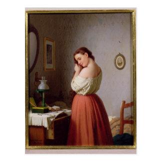 Postal Mujer joven que trenza su pelo