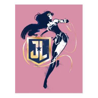 Postal Mujer Maravilla de la liga de justicia el   y arte