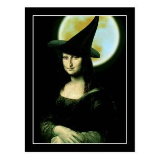 Postal Mujer Mona Lisa Halloween de Witchy