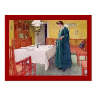 Postal Mujer que fija la tabla